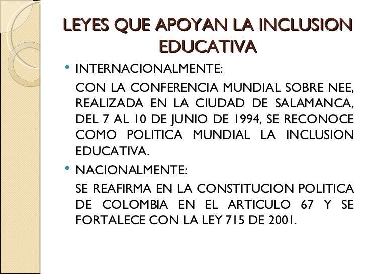 Inclusion educativa diapositivas 2 for Que es politica internacional