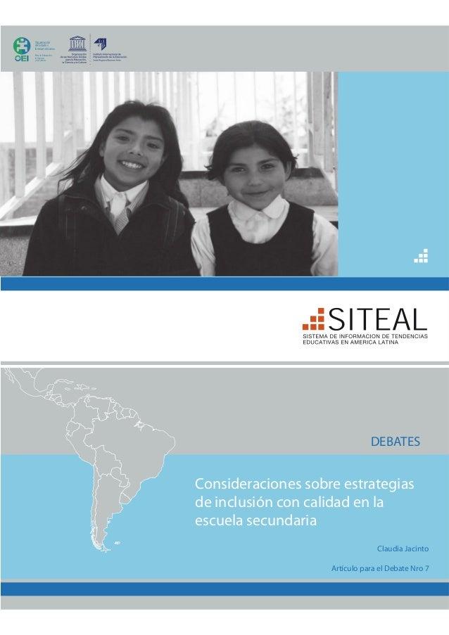 Consideraciones sobre estrategias de inclusión con calidad enla escuela secundaria1                                       ...