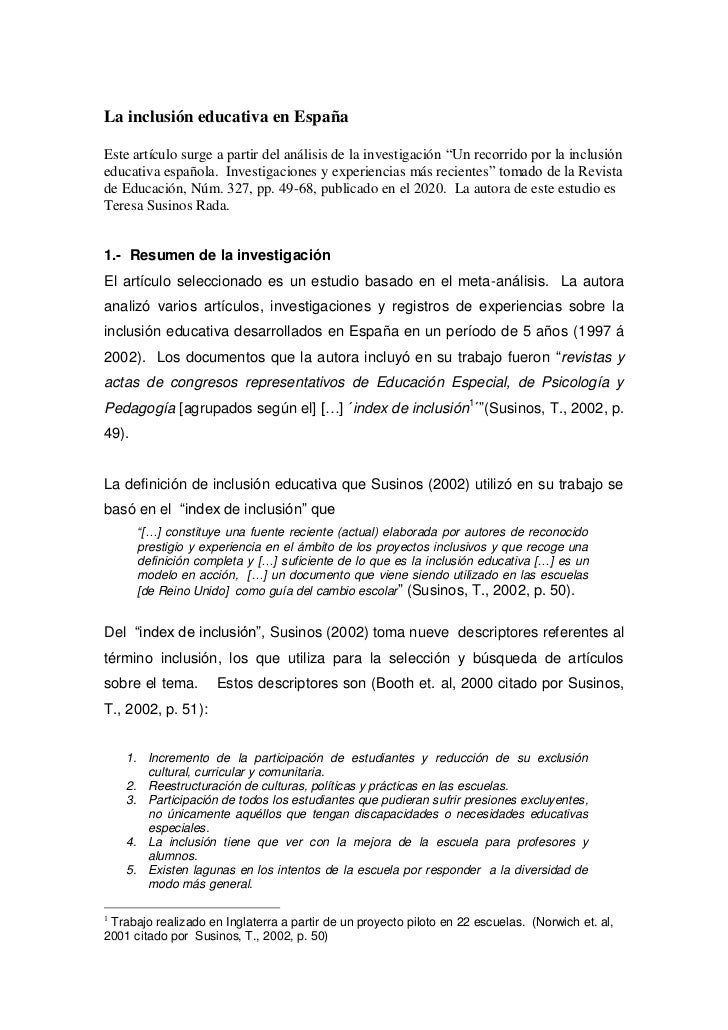 """La inclusión educativa en EspañaEste artículo surge a partir del análisis de la investigación """"Un recorrido por la inclusi..."""