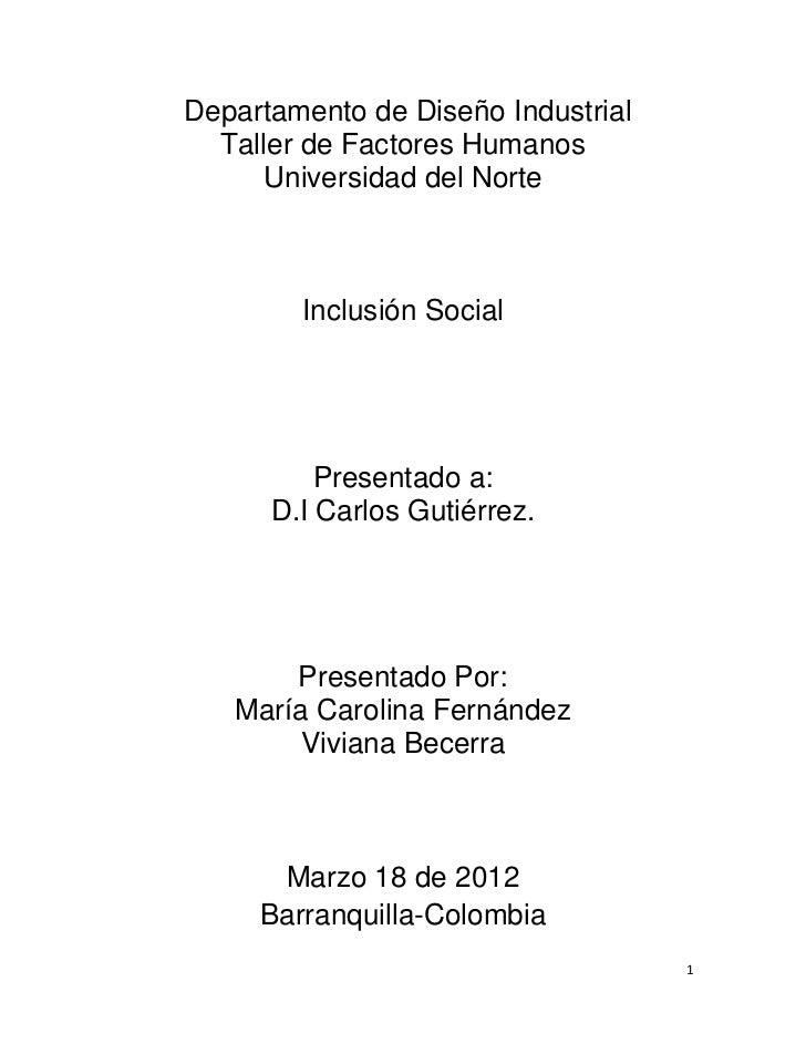 Inclusion social trabajo de investigacion
