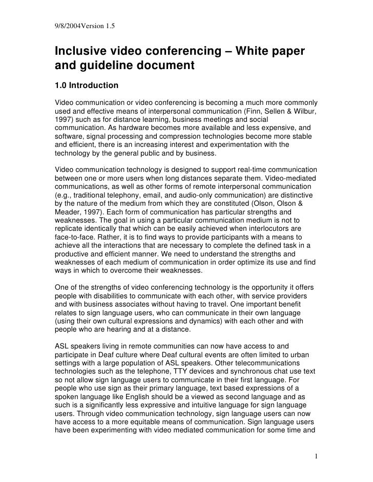 9/8/2004Version 1.5   Inclusive video conferencing – White paper and guideline document 1.0 Introduction  Video communicat...