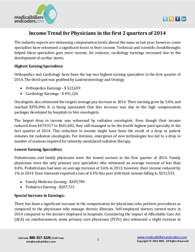 Income trend-for-physicians-in-the-first-2-quarters-of-2014
