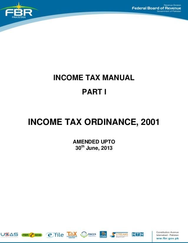 Income tax ordinance 2001, amended upto 30th june, 2013