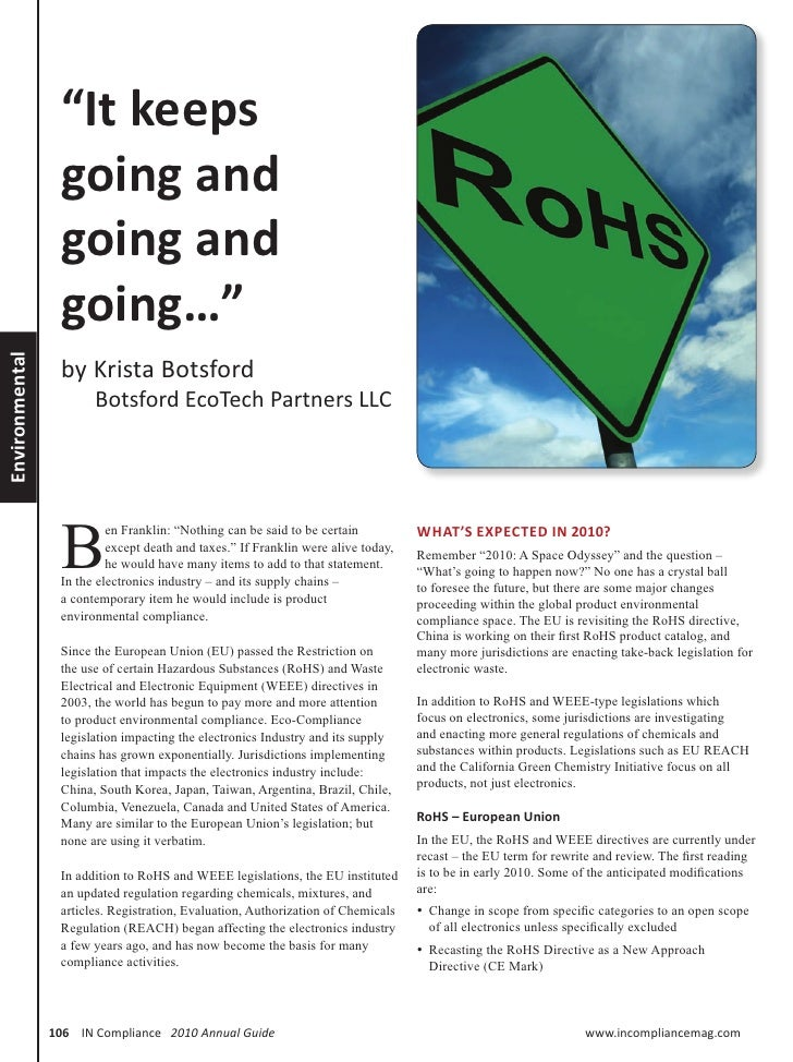 In Compliance Magazine - RoHS Status Article