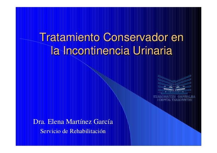 Tratamiento conservador en la incontinencia urinaria
