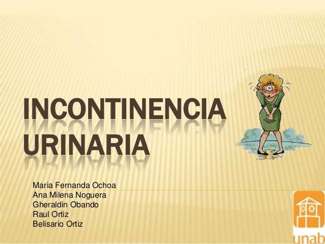 INCONTINENCIA URINARIA Maria Fernanda Ochoa Ana Milena Noguera Gheraldin Obando Raul Ortiz Belisario Ortiz