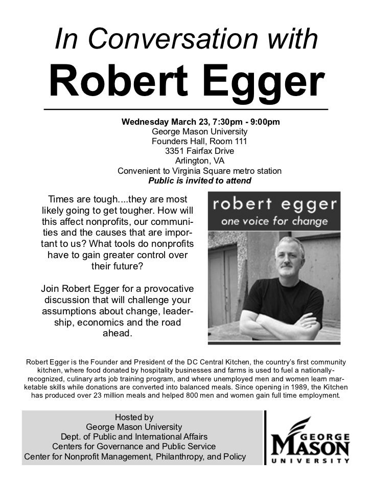 In Conversation with       Robert Egger                             Wednesday March 23, 7:30pm - 9:00pm                   ...