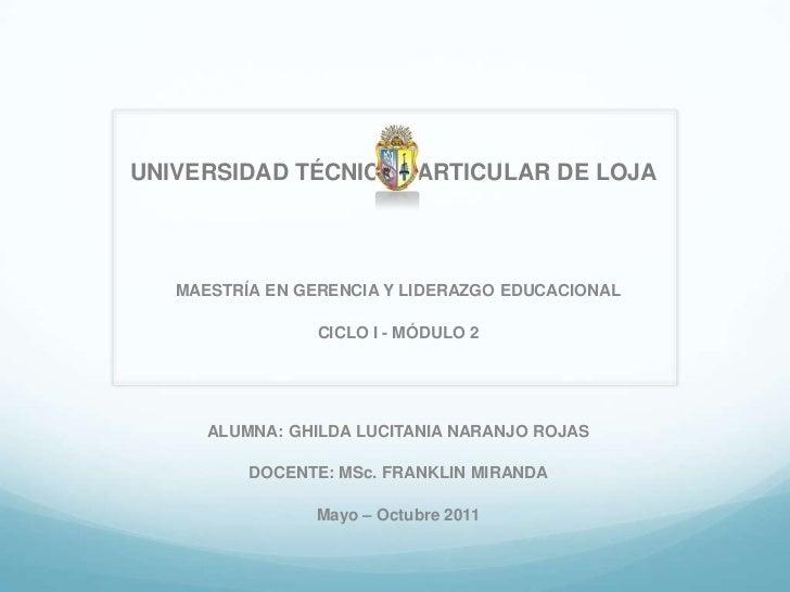 UNIVERSIDAD TÉCNICA PARTICULAR DE LOJA<br />MAESTRÍA EN GERENCIA Y LIDERAZGO EDUCACIONAL<br />CICLO I - MÓDULO 2<br />AL...