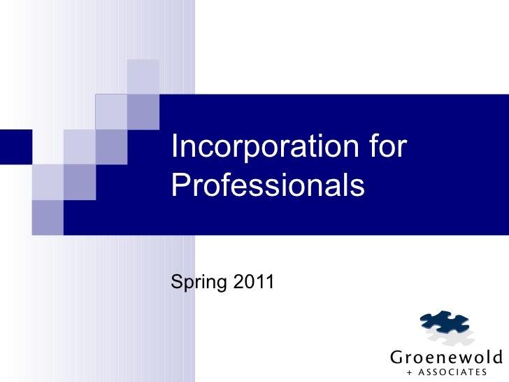 Incorporation (2011)