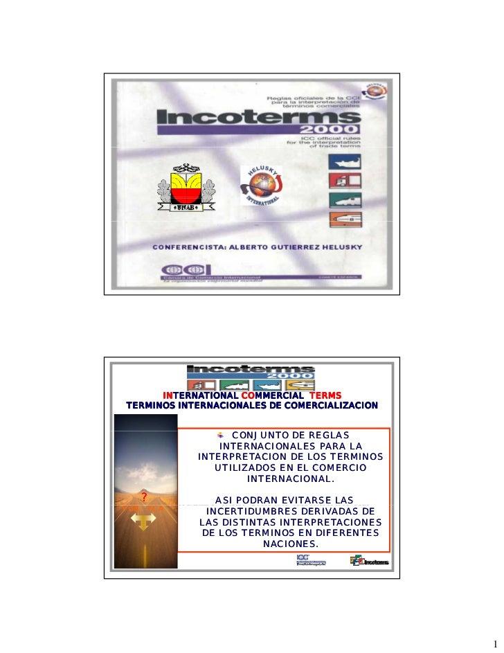 INTERNATIONAL COMMERCIAL TERMSTERMINOS INTERNACIONALES DE COMERCIALIZACION                  CONJUNTO DE REGLAS            ...