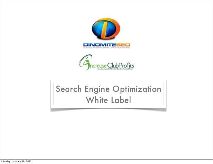 Search Engine Optimization                                  White LabelMonday, January 16, 2012