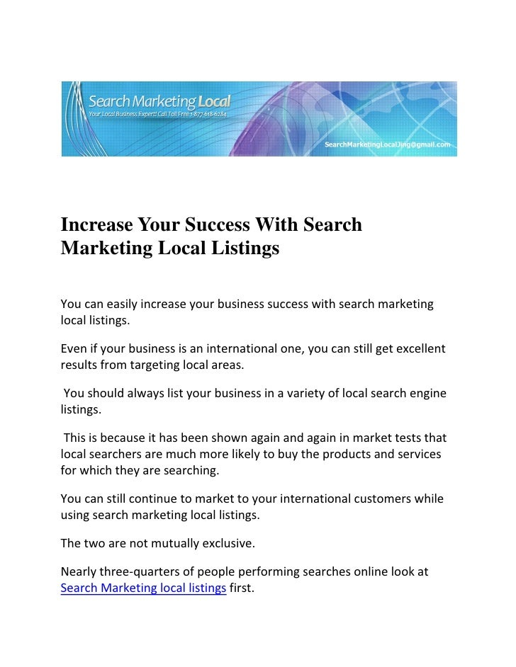 Increase Your Success With Search Marketing Local Listings