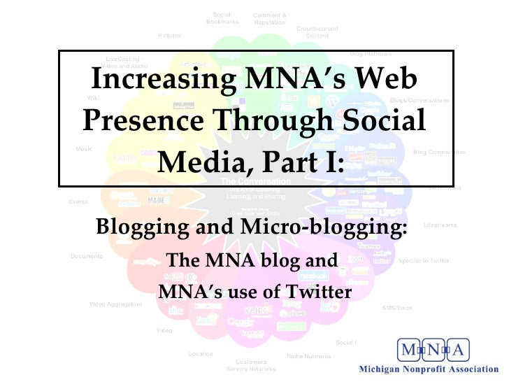 Increasing MNA's Web Presence Through Social Media, Part I:  Blogging and Micro-blogging:  The MNA blog and  MNA's use of ...