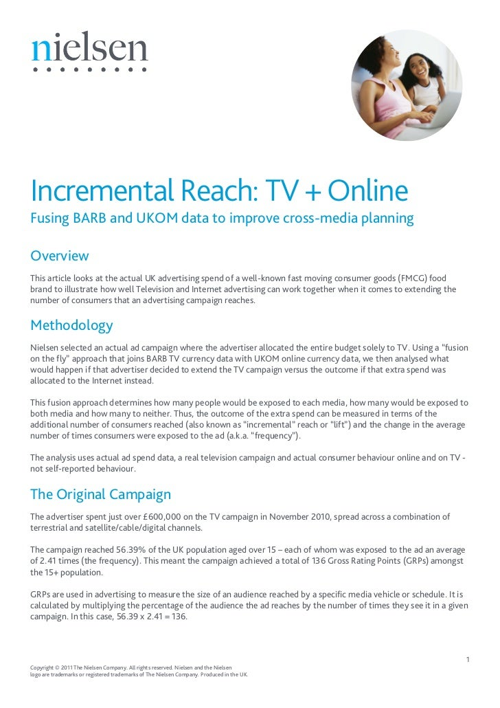 Incremental Reach: TV + OnlineFusing BARB and UKOM data to improve cross-media planningOverviewThis article looks at the a...