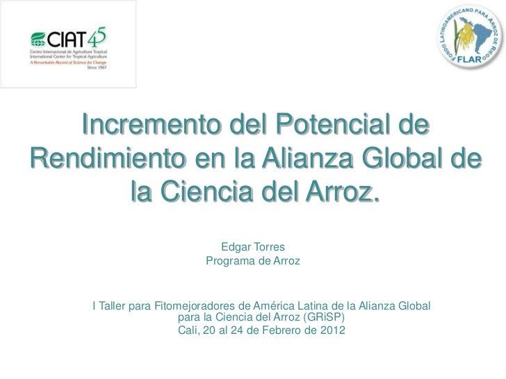 Incremento del Potencial deRendimiento en la Alianza Global de       la Ciencia del Arroz.                             Edg...