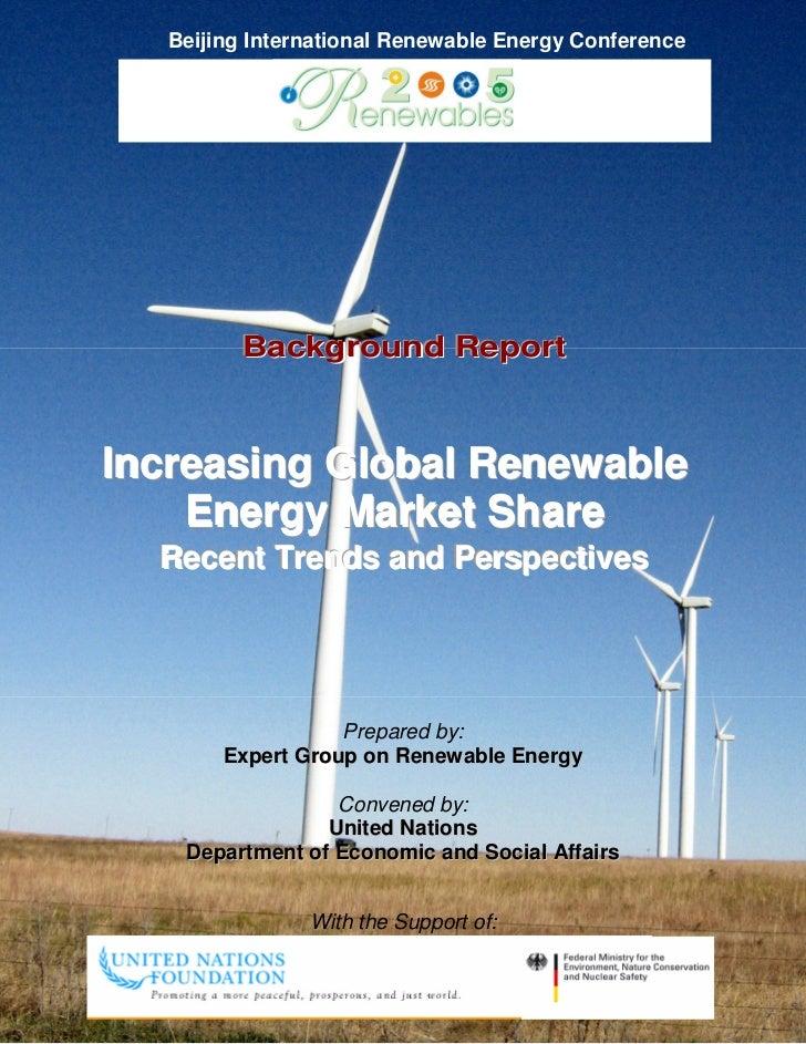 Incr global renewable energy mkt share   un report - beijing re-report