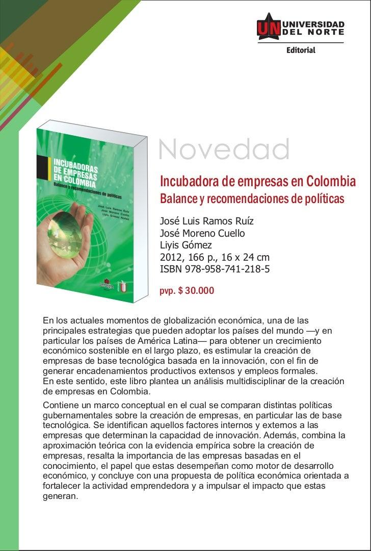 Novedad                              Incubadora de empresas en Colombia                              Balance y recomendaci...