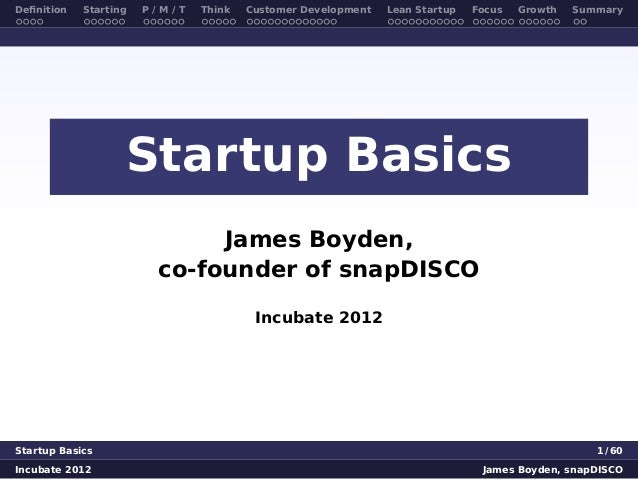 Startup Basics for Incubate workshop