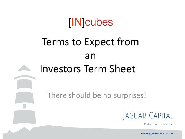 Terms to Expect from an Investors Term Sheet There should be no surprises!