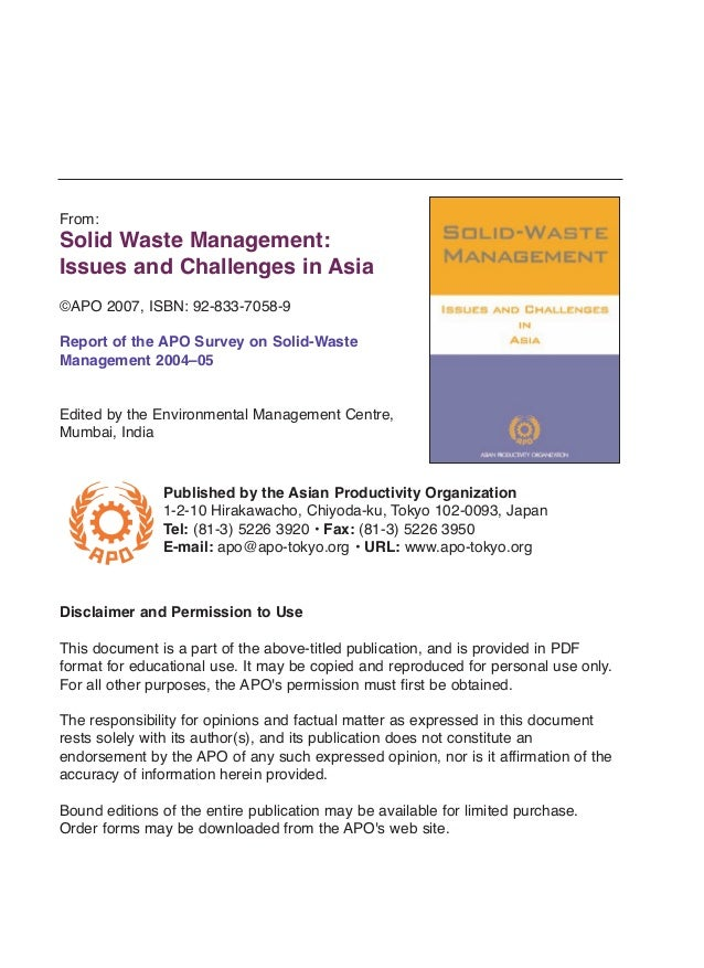 From:  Solid Waste Management: Issues and Challenges in Asia ©APO 2007, ISBN: 92-833-7058-9 Report of the APO Survey on So...