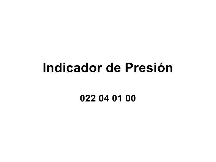 Indicador de Presión 022 04 01 00