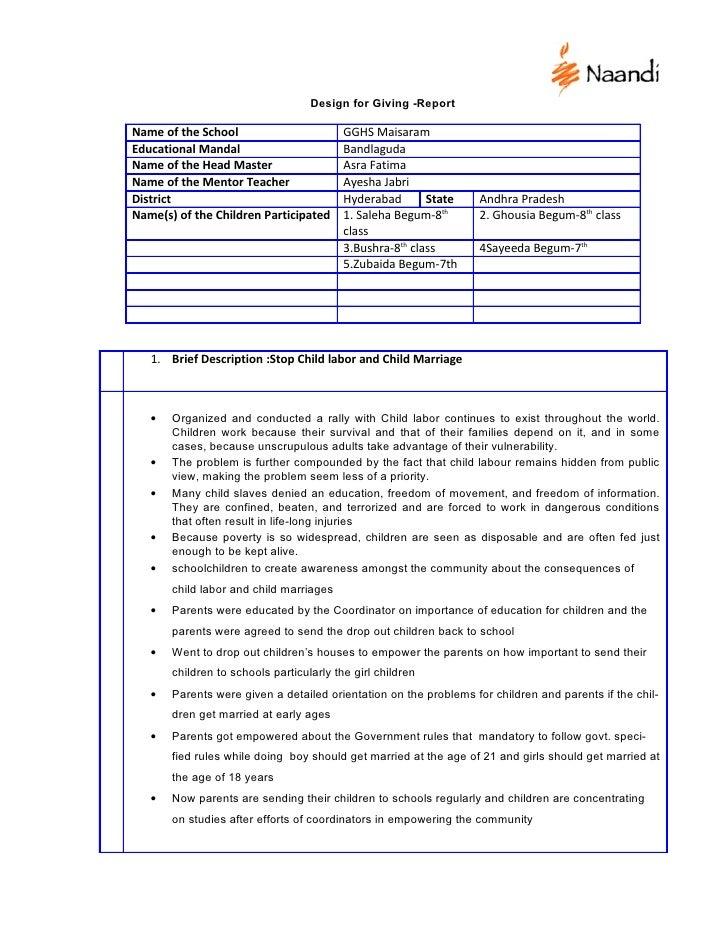 Design for Giving -Report  Name of the School                        GGHS Maisaram Educational Mandal                     ...