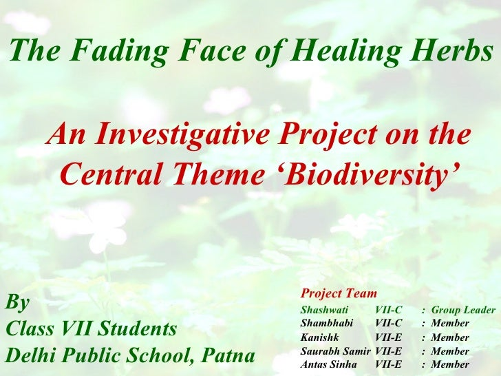The Fading Face of Healing Herbs By Class VII Students Delhi Public School, Patna An Investigative Project on the Central ...