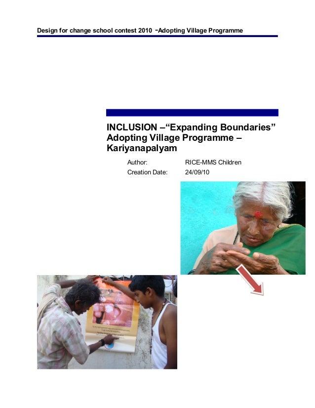 "Design for change school contest 2010 -Adopting Village Programme INCLUSION –""Expanding Boundaries"" Adopting Village Progr..."