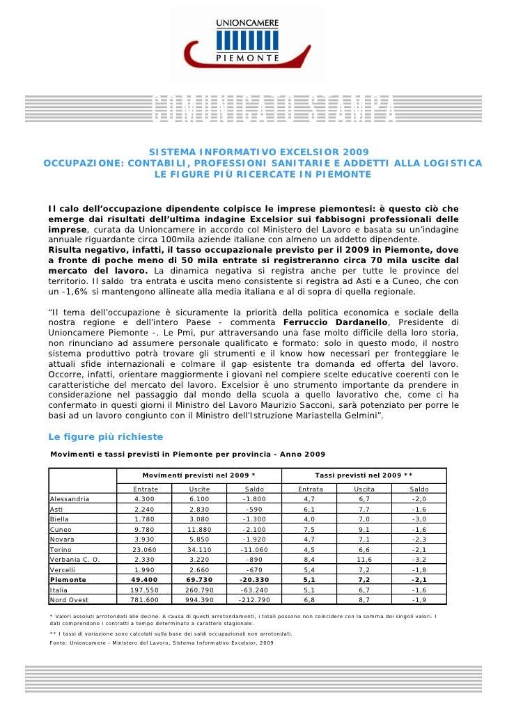 SISTEMA INFORMATIVO EXCELSIOR 2009 OCCUPAZIONE: CONTABILI, PROFESSIONI SANITARIE E ADDETTI ALLA LOGISTICA                 ...