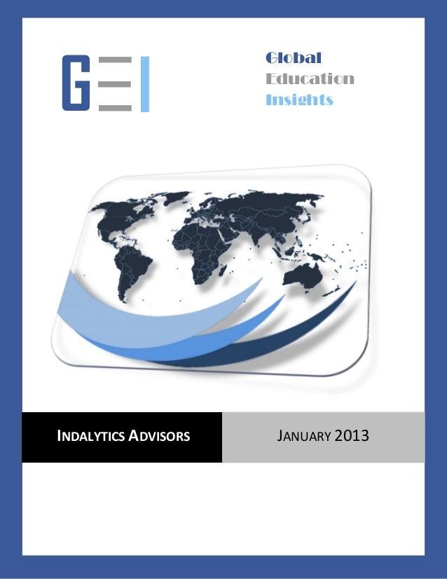 —                    GlobalG— I —                      Education                      InsightsINDALYTICS ADVISORS    JANUA...