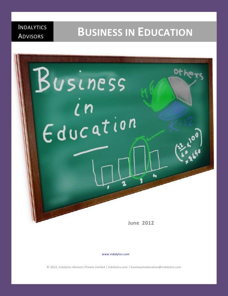 Indalytics - Business In Education - June 2012
