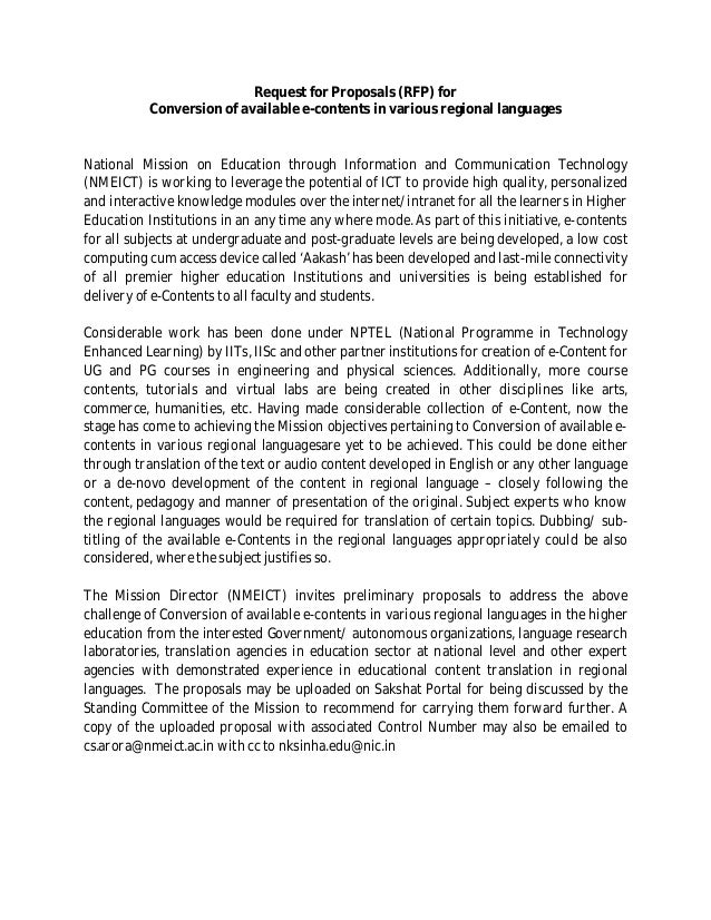 Request for Proposals (RFP) for           Conversion of available e-contents in various regional languagesNational Mission...