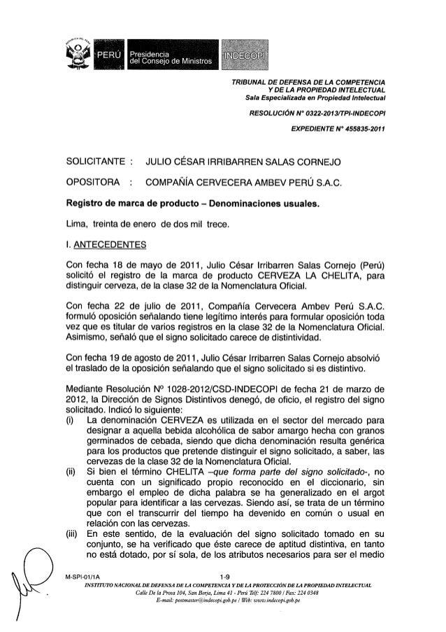 I : PERU Pres'denc'a del Cêonseio de Ministros     TRIBUNAL DE DEFENSA DE LA COMPETENCIA YDE LA PROPIEDAD INTELECTUAL Sala...