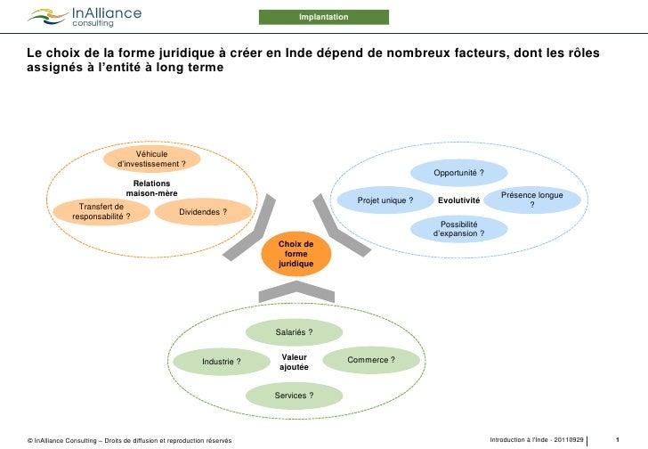 ImplantationLe choix de la forme juridique à créer en Inde dépend de nombreux facteurs, dont les rôlesassignés à l'entité ...