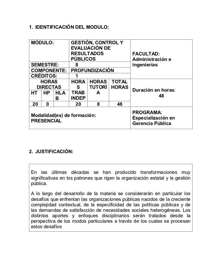 1. IDENTIFICACIÓN DEL MODULO:MÓDULO:     GESTIÓN, CONTROL Y            EVALUACIÓN DE            RESULTADOS                ...