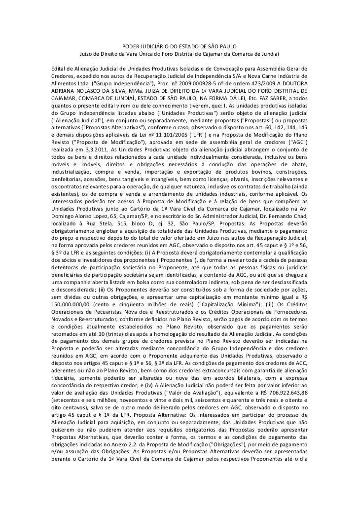 PODER JUDICIÁRIO DO ESTADO DE SÃO PAULO           Juízo de Direito da Vara Única do Foro Distrital de Cajamar da Comarca d...