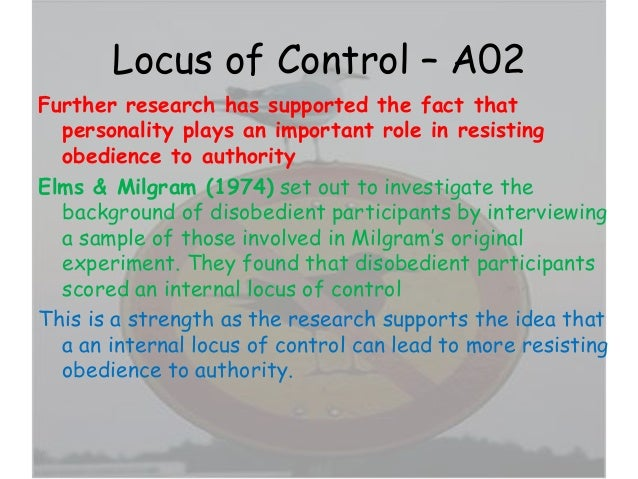 External locus of control example