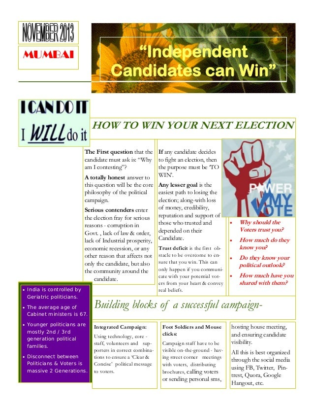 """""""Independent Candidates can Win""""  MUMBAI  HOW TO WIN YOUR NEXT ELECTION The First question that the If any candidate decid..."""