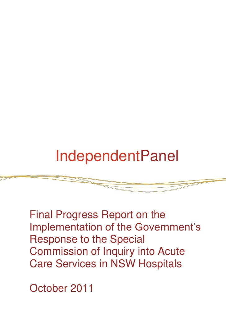 """IndependentPanelFinal Progress Report on theImplementation of the Government""""sResponse to the SpecialCommission of Inquiry..."""