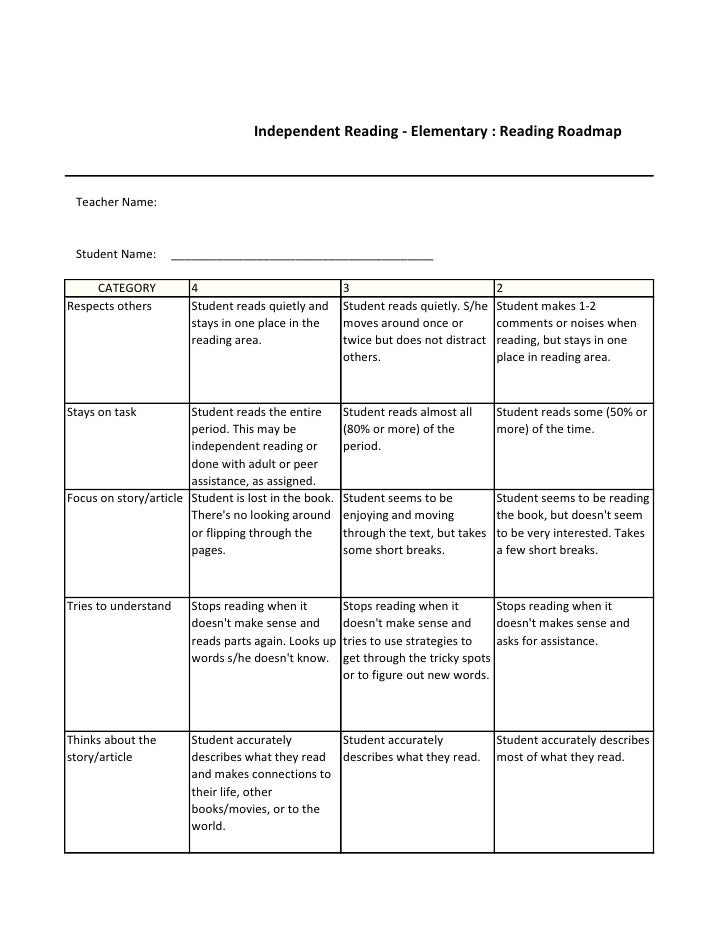 Independent Reading - Elementary : Reading Roadmap Teacher Name: Student Name:     _______________________________________...