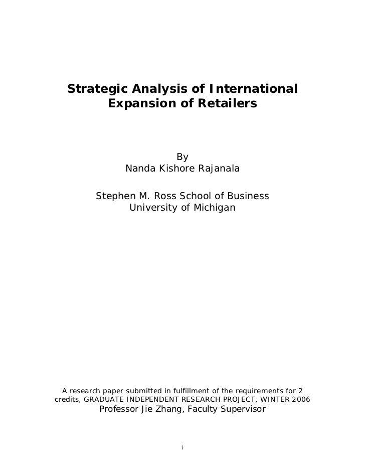Strategic Analysis of International         Expansion of Retailers                             By                   Nanda ...