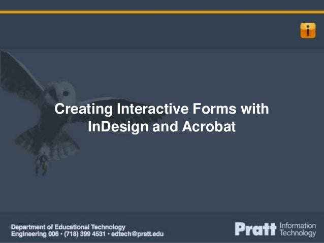 Creating Interactive Forms with InDesign and Acrobat