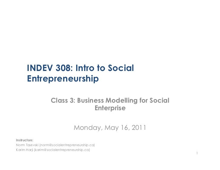 INDEV308 Class 3 - Business Modelling for Social Entreprise