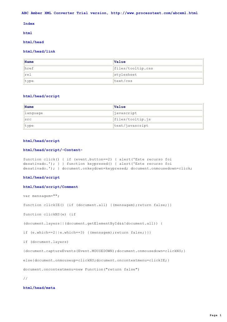 ABC Amber XML Converter Trial version, http://www.processtext.com/abcxml.html  Index  html  html/head  html/head/link   Na...