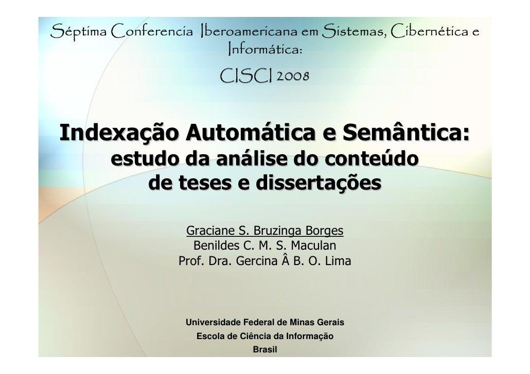 Indexação Automática e Semântica: estudo da análise do conteúdo de teses e dissertações
