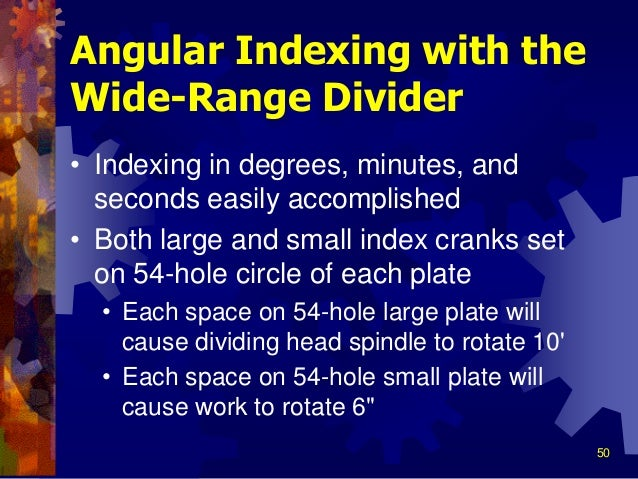 angular indexing in milling machine