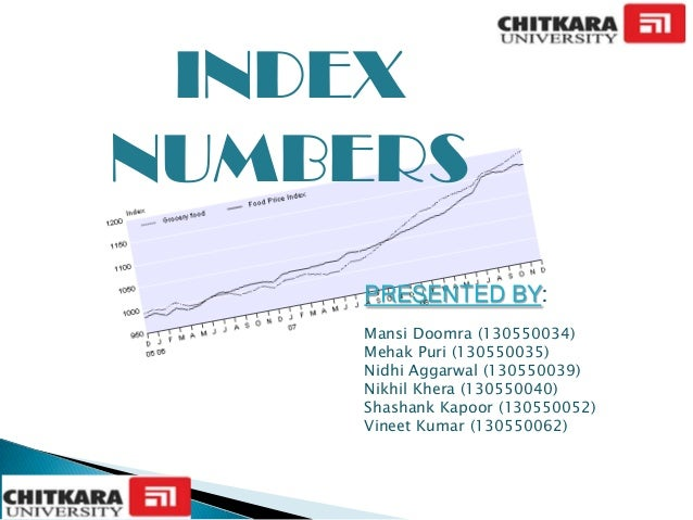 INDEX NUMBERS PRESENTED BY: Mansi Doomra (130550034) Mehak Puri (130550035) Nidhi Aggarwal (130550039) Nikhil Khera (13055...