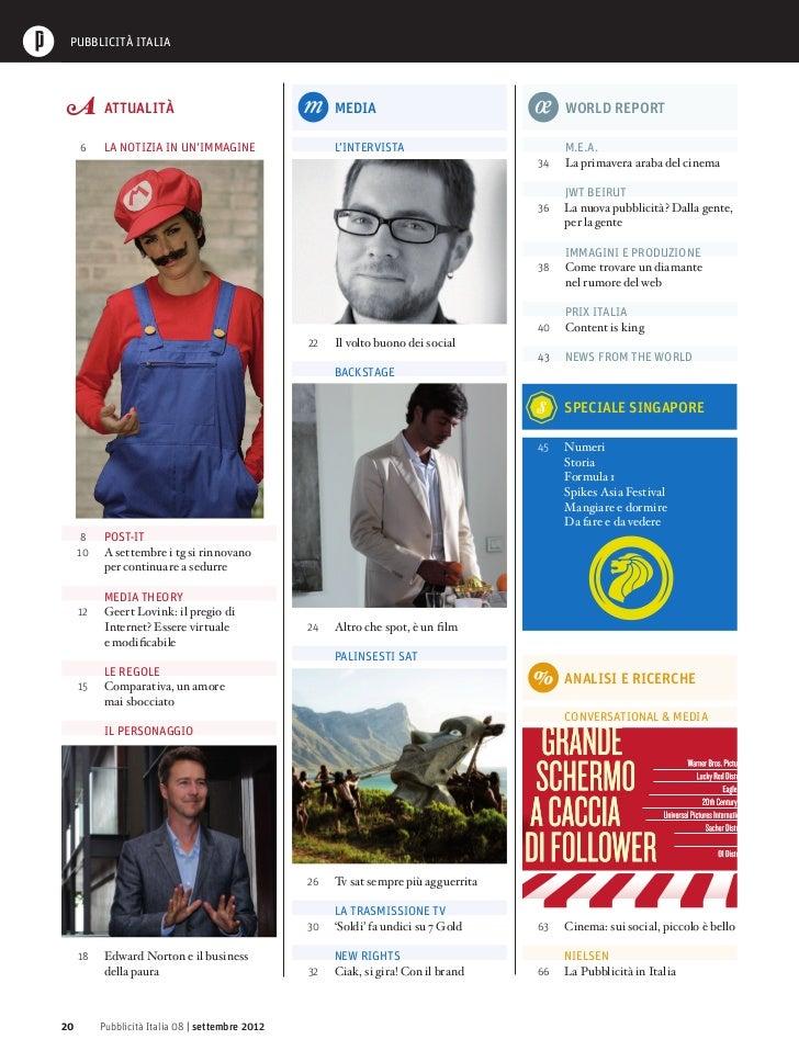 Sommario Pubblicità Italia n.8 Settembre 2012