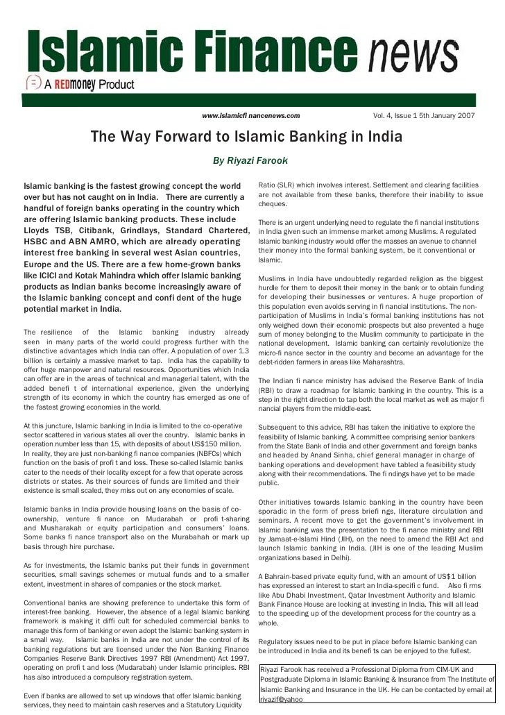 www.islamicfi nancenews.com                             Vol. 4, Issue 1 5th January 2007                         The Way F...