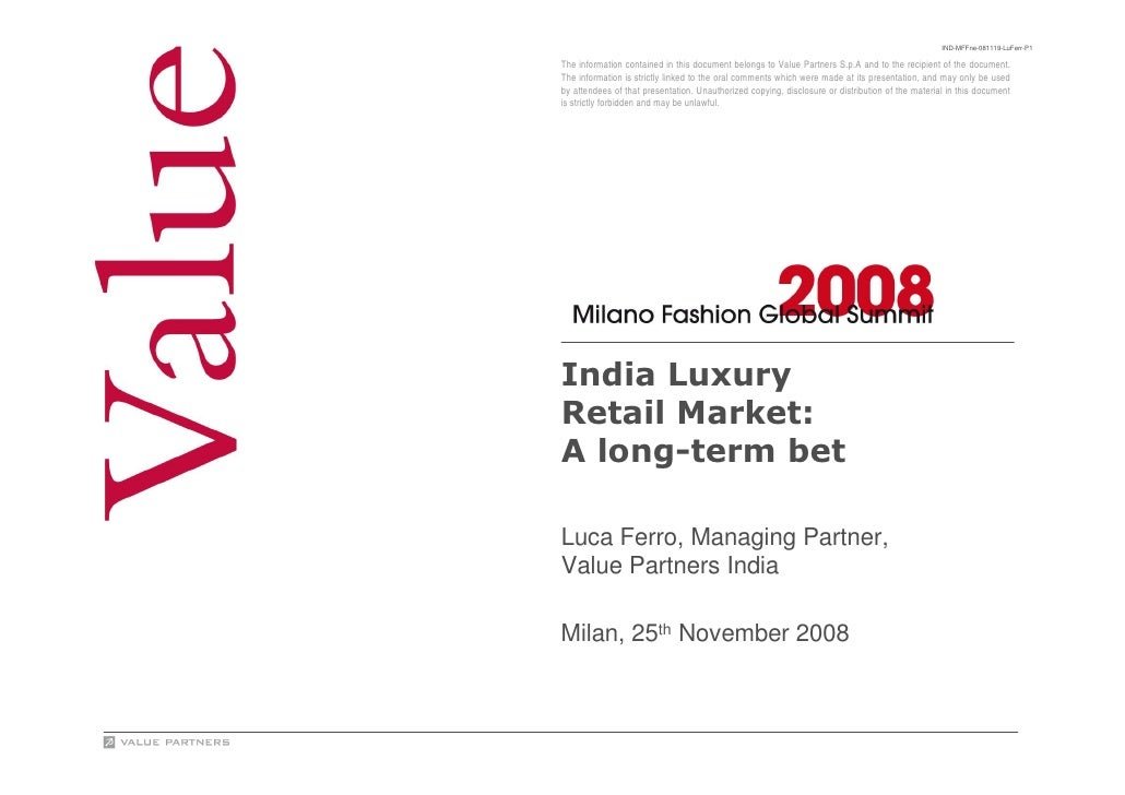 India Luxury Retail Market A Long Term-Bet_Value Partners